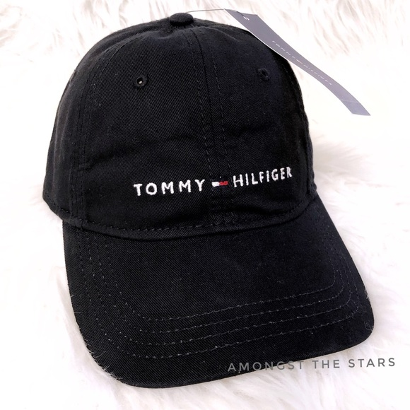 9f263f90 Tommy Hilfiger Accessories   Spell Out Black Strapback Dad Hat ...